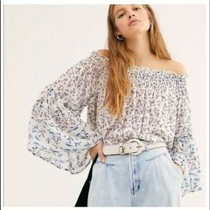 NWT Free People Rose Valley Floral Printed Blouse